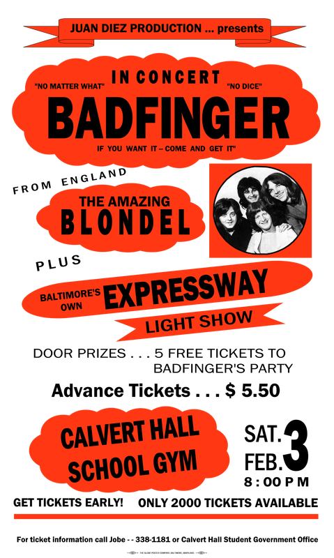 the concert poster badfinger concert calvert hall college. Black Bedroom Furniture Sets. Home Design Ideas
